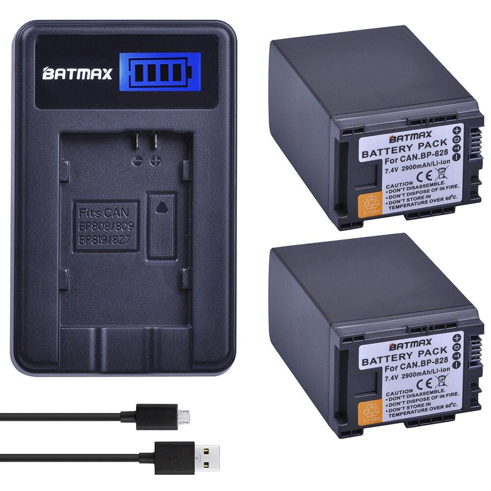 2Pcs 2900mAh BP-828 BP 828 BP828 Li-ion Batteries+ LCD USB Charger for Canon VIXIA GX10 HFS30 HF20 HG20 G30 G40 XA20 XA25 HFM300 bp828 replacement 7 4v 2920mah li ion battery for canon xa25 xa20 hfg30 black