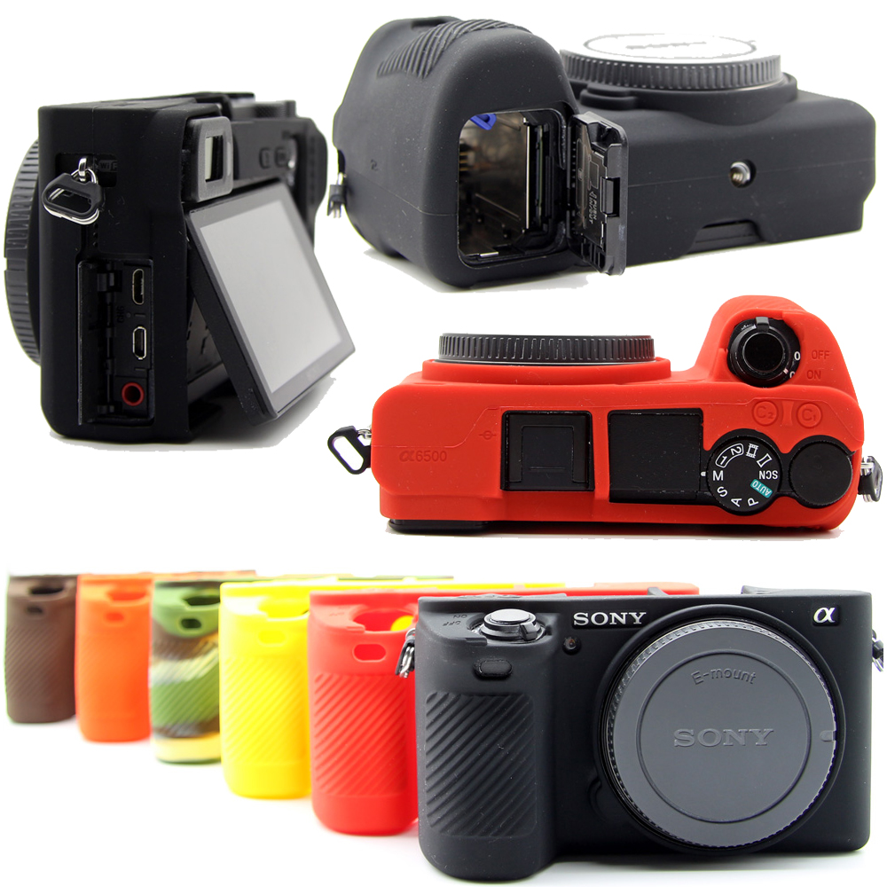 все цены на Silicone Camera Bag Video Case For SONY A6500 a6500 Silicone Case Rubber Camera case Protective Body Cover Skin онлайн