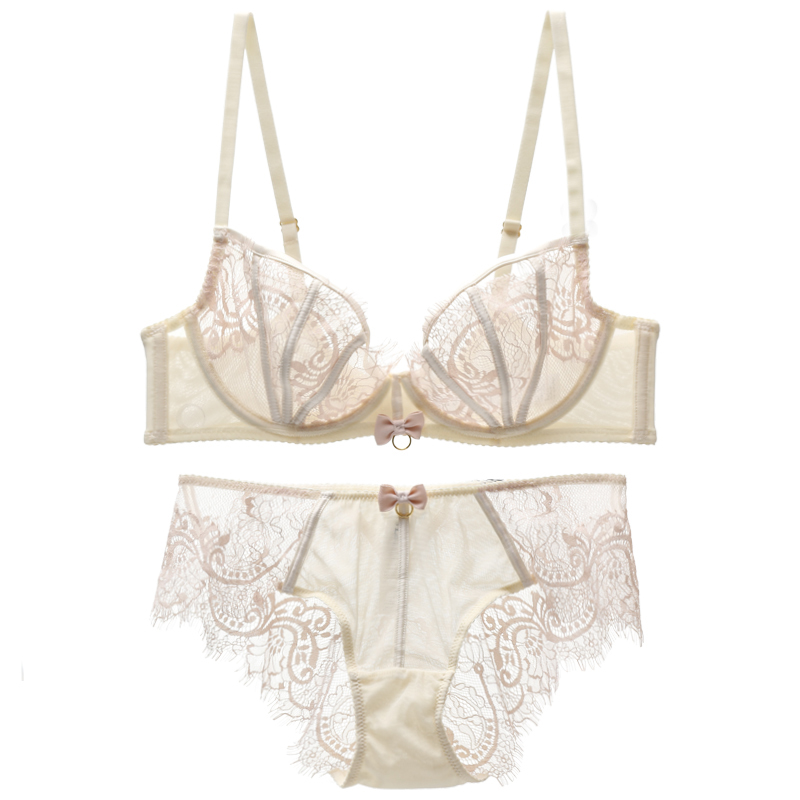 Sexy Transparent Bra And Panty Set  Lingerie Bow Underwire Unlined Embroidery Underwear Women Intimates Push Up 3/4 Cup Sheer