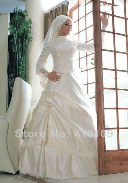 versandkostenfrei satin elegante langarm rmm04 muslim hochzeitskleid ...