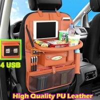 4 USB Заднего органайзер на сиденье Multi Карманный PU кожа автомобиля сумка для хранения Организатор для Яндекс Такси