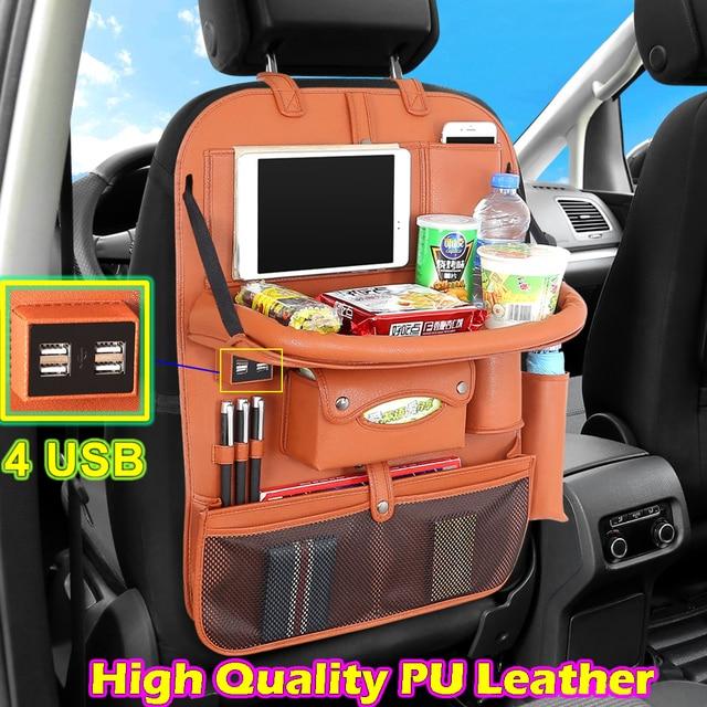 (4 USB) High Quality Car Back Seat Organizer Multi Pocket PU Leather Car Storage Bag Car Rear Seat Organizer for UBER/LYFT users