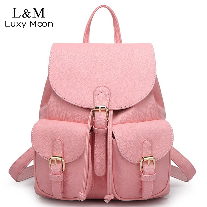 Fashion Women PU Leather Backpack Simple Style Black Backpacks For Teenage Girls Solid Rucksack School Large Bags mochila XA894H