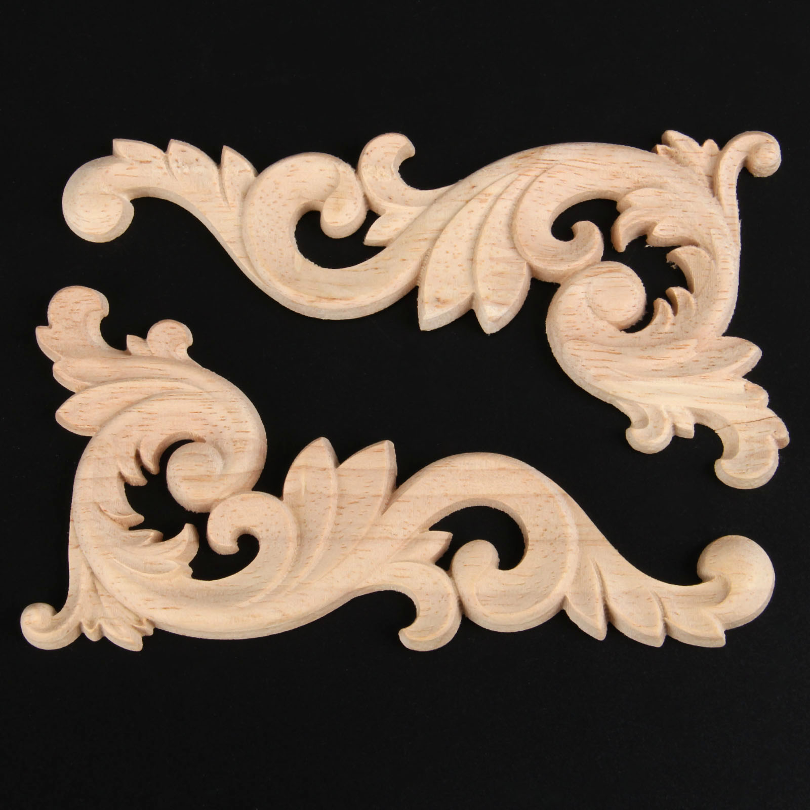Woodcarving Decal Corner Applique Frame Door Decorate Wall Furniture Decorative Figurines Wooden Miniatures Home Decor 15*8cm russian lacquer miniatures