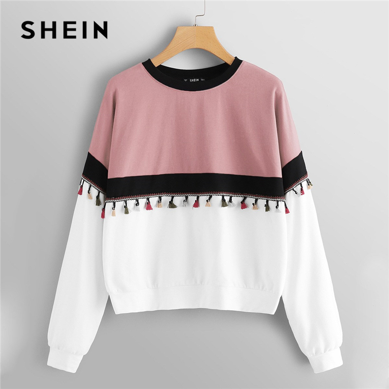 SHEIN Multicolor Cut and Sew Tassel Detail Colorblock Fringe Round Neck Sweatshirt Preppy Style Hooded Pullover Sweatshirt