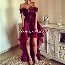 Burgundy Prom Dresses Long 2016 Off Shoulder Short Sleeves High Low Party Gowns vestidos de fiesta Lace Organza Sexy Prom Dress burgundy lace details off the shoulder long sleeves bodycon dress