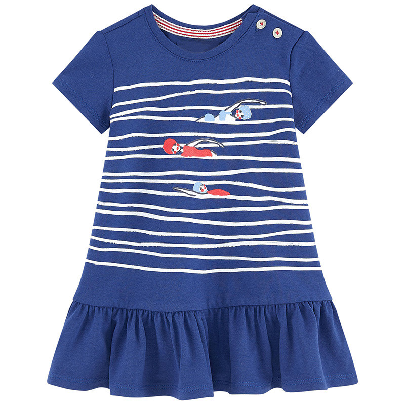 Baby Girls new style cute short sleeve dresses kids cartoon summer clothes with printed swimming contest top baby girls dresses new girls dresses summer 2016 short sleeve v neck rabbit princess costumes for kids chinese style a line dresses girls clothes