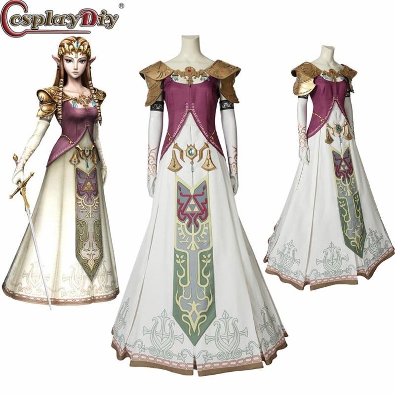 Us 27 59 11 Off Cosplaydiy The Legend Of Zelda Twilight Princess Cosplay Costume Halloween Zelda Princess Clothing Dress Headwear Custom Made In
