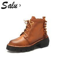 Salu 2018 Genuine Leather boots Lace Up Shoes Female Botas new Women Ankle Boots Woman Cow leather shoes plus size 11 12