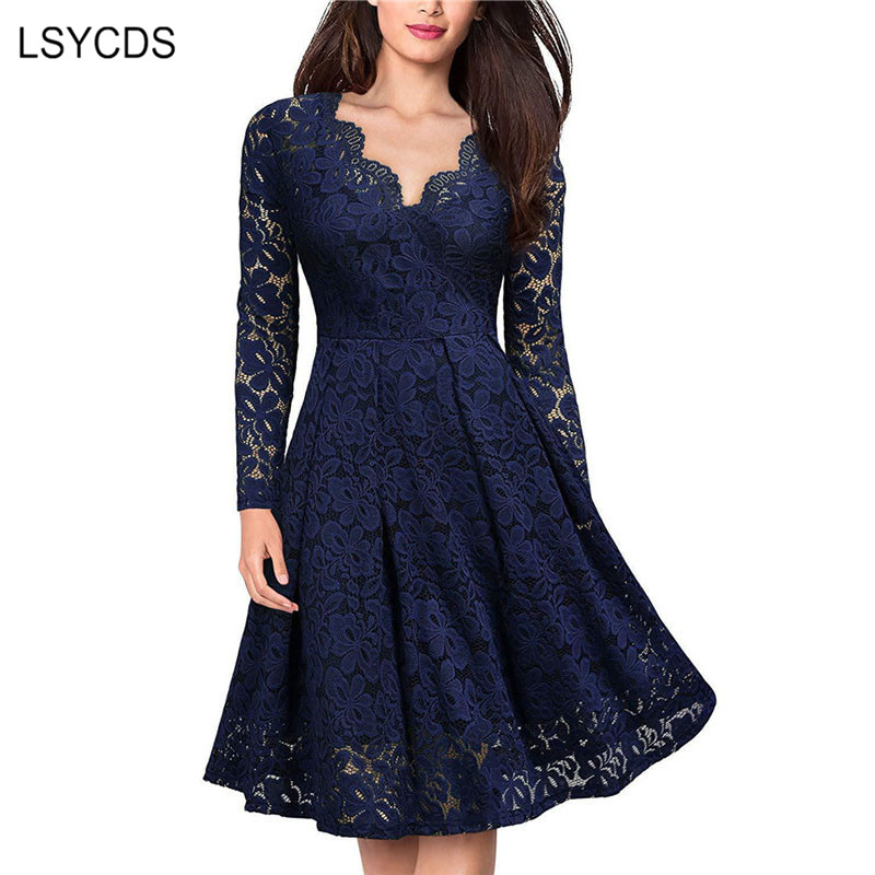 LSYCDS Elegant Sexy Dress For Women Vintage Lace Long Sleeve V Neck Black Blue Robe Femme Casual Dresses Woman Party Night 2019