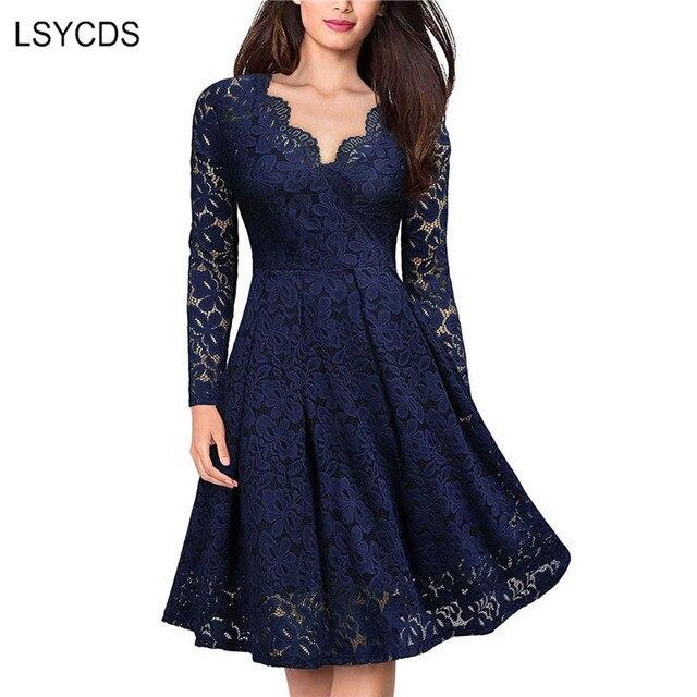 فستان جذاب أنيق للنساء من LSYCDS دانتيل عتيق بأكمام طويلة وفتحة رقبة شكل V أسود وأزرق فساتين سيدات كاجول للحفلات الليلية 2020فساتين
