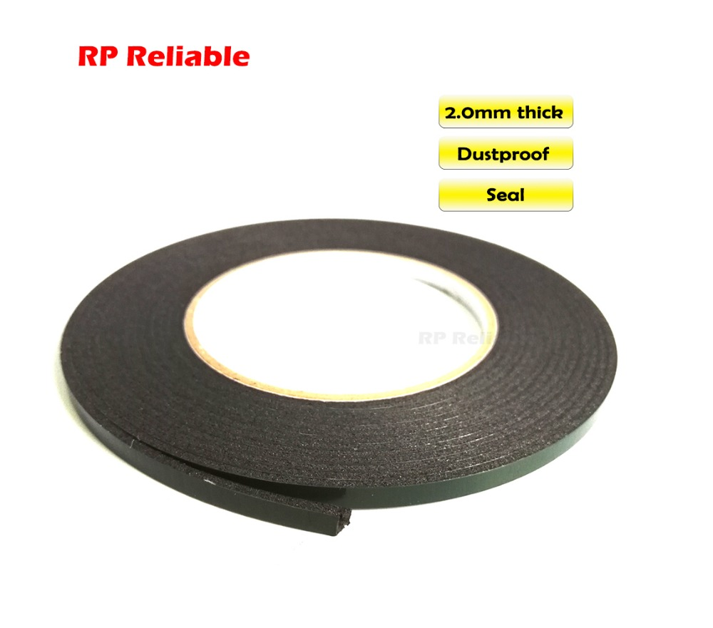 (2mm Thick) 5mm*5M, (Other Wide Choose) Double Sided Adhesive Black Foam Sponge For Windows Panel Plate Trim Seal Dust Proof