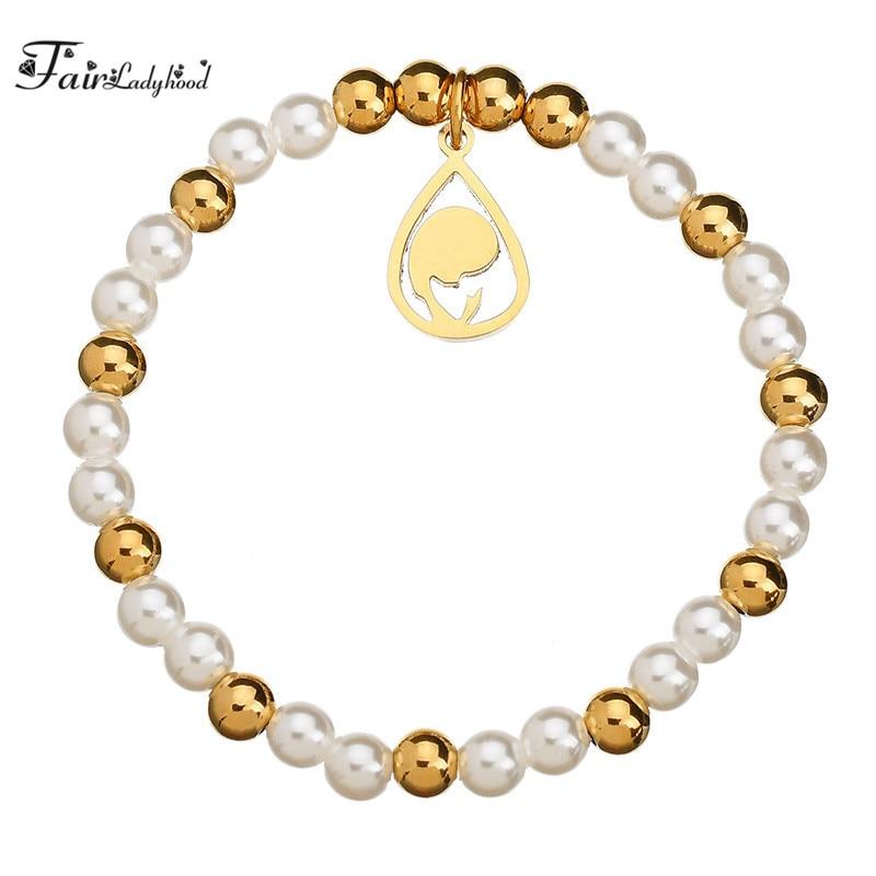 FairLadyHood Mother Maria Cross Charm Bracelet For Women Gold-color Expandable Beads Strand Bracelet