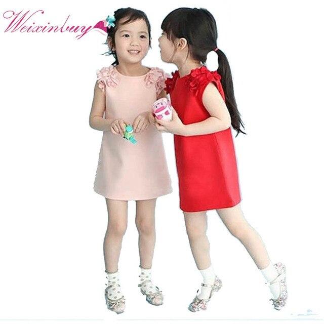 c9177dea3f9521 Baby Kid Meisjes Zomer Mouwloze Bloem Schouder Prinses Jurk Meisje Kleding  vestido de menina (kiezen