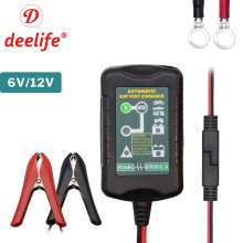 Deelife 12V Automatic Smart Battery Charger for Motorcycle Car Battery Pulse Repair Maintainer 6V 12 V GEL Lead Acid Desulfator new 110 v 220 v full automatic electric car charger smart repair pulse charger type 12v 24v 100ah