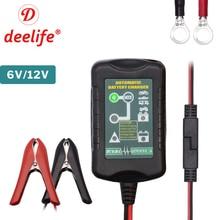 Deelife 12V Automatic Smart Battery Charger for Motorcycle Car Battery Pulse Repair Maintainer 6V 12 V GEL Lead Acid Desulfator цены