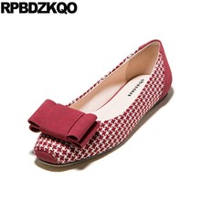 Green Size 33 Square Toe Bow Red Flats Plaid China Slip On Cheap Kawaii Ballerina  Shoes Soft Ballet Women Designer Houndstooth dd5c43677d9d