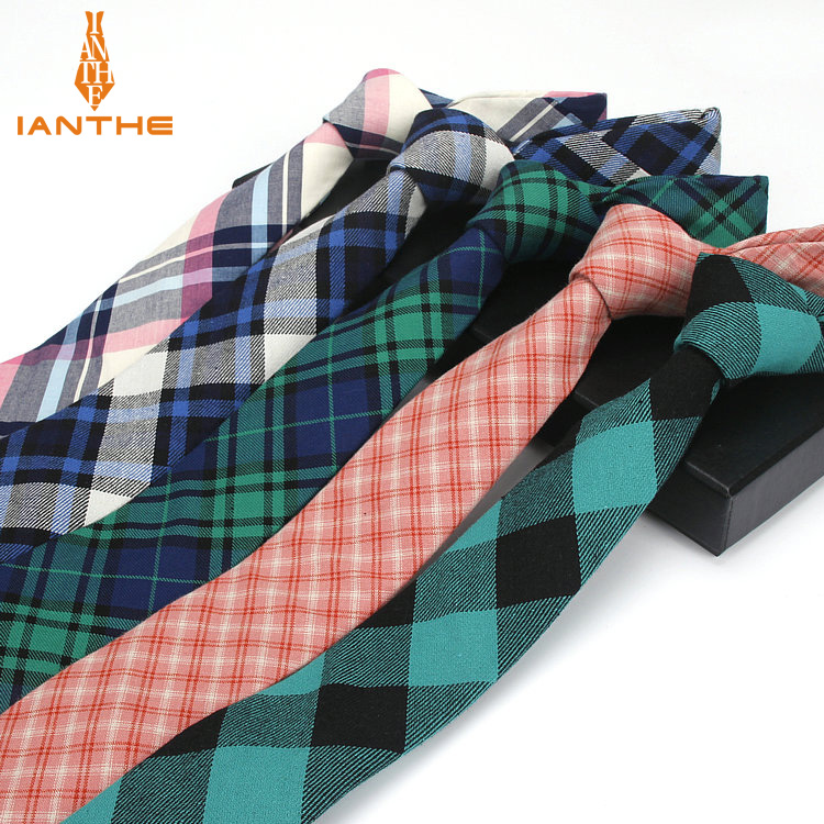 Fashion Men Ties New Plaid Vintage Cotton Men Skinny Necktie Corbatas Neck Ties 6 CM Narrow Party Wedding Slim Neck Tie For Men