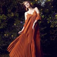 New Self Portrait Dress 2019women summer bohemian dress khaki pleated orange lace spaghetti strap loose chiffon maxi dress