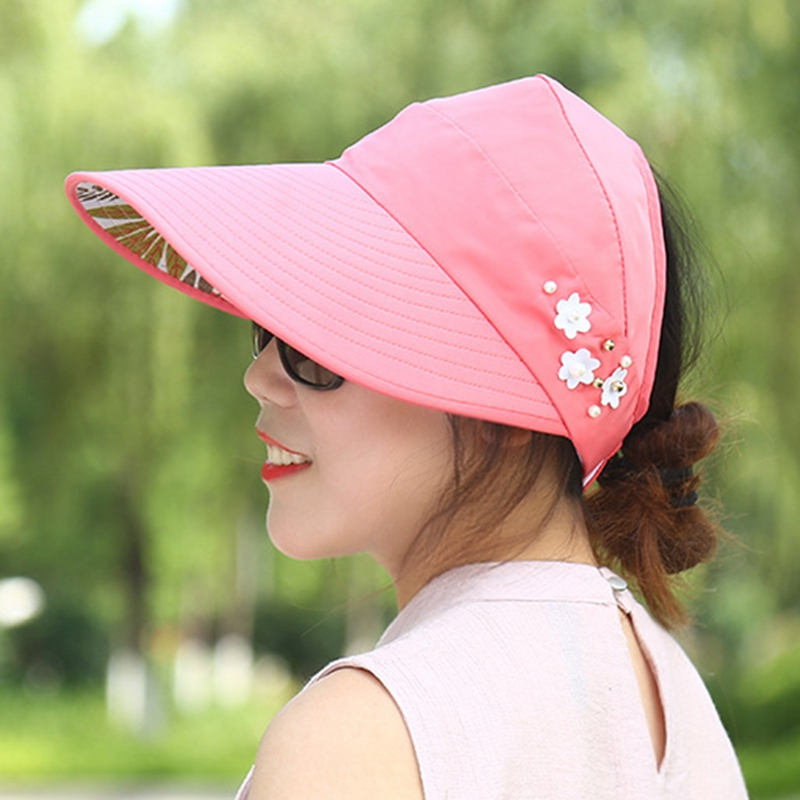 5 Color Fashion Summer Women's Sun Hats Adjustable Wide Brim Canvas UV Protection Outdoor Visors For Ladies Women Hats
