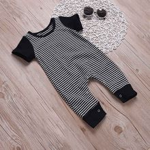 2017 Brand New Fashion Newborn Toddler Infant Baby Boys Romper short Sleeve Jumpsuit Playsuit Little Boy Outfits Black Clothes(China)
