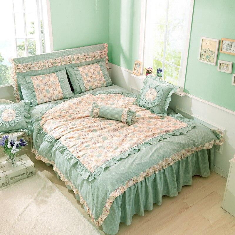 IvaRose 100% Cotton Floral Print Bedding Set King Queen Twin size Kids Girls Gifts Duvet Cover Bed sheet Set Pink Green Color