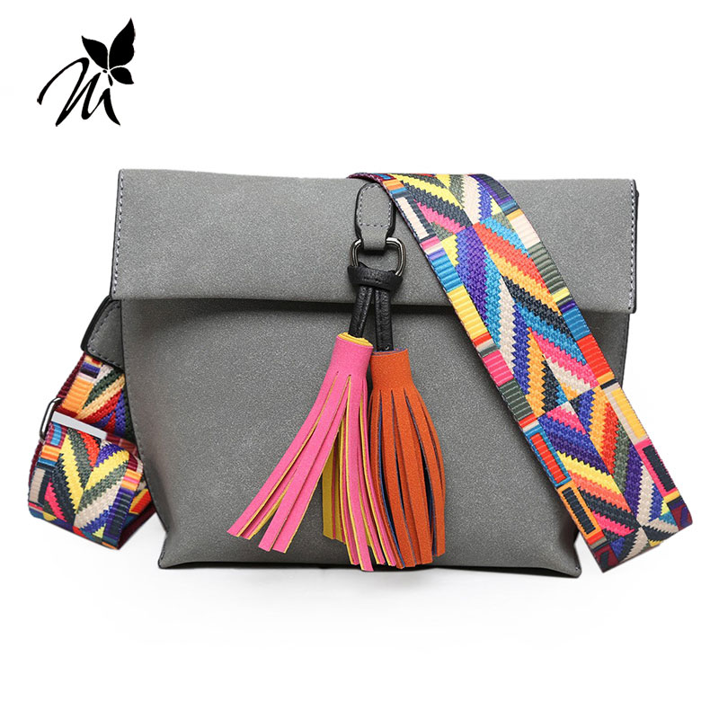 2017 han edition frosted color tassel small bag Fashion rainbow ribbon one shoulder his female bag