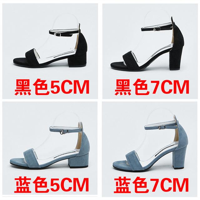 Blue Gladiator Sandals Summer Office High Heels Shoes Woman Buckle Strap Pumps Casual Women Shoes Plus Size 35-40 5cm 7cm