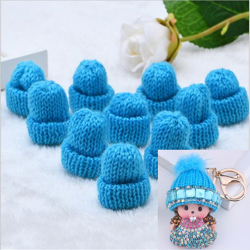 10Pcs Mini Handmade Small Knitting Hat For DIY Dolls Phone Case Decoration Headwear Garment Toy  Child Hand Scrapbooking Arts