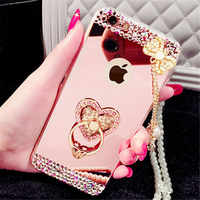 Luxury Rhinestone Case Cover For iPhone 11 Pro MAX 5 6 7 8 Plus X Xs Max XR Phone Case Glitter Mirror Ring Holder Stand Soft TPU