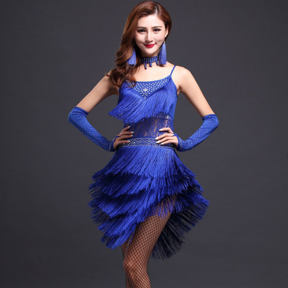 Nouvelle mode 2018 femmes danse Costume 3 pièces ensemble robe, manches, collier Salsa robe Samba Costumes femmes Latin danse robe