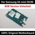 100% abierto original placa base para samsung galaxy s4 mini i9190 i9195 buenas mainboard del teléfono con chips de la placa lógica