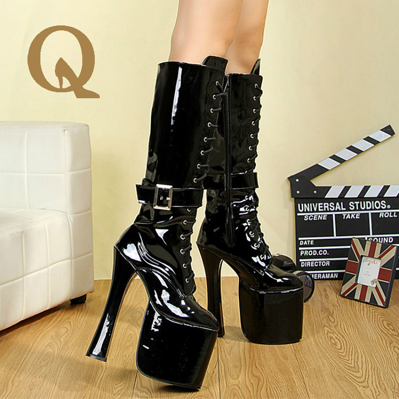 ФОТО New Listing Euramerican Style Fashion  Boots High Quality Patent Leather Women Shoes Cross Strap  Metal Buckle Decorate Boots
