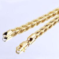 Beliebte Modeschmuck Der Frauen Männer 24 zoll 5mm Seil Kette Halskette Gelbgold Gefüllt
