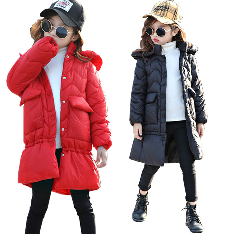 Kids Winter Coats Jacket for Girls Parkas Thick Fur Hooded Teenage Girls Long Coat Outerwear Children Clothing 10 Y girls winter coat casual outerwear warm long thick hooded jacket for girls 2017 fashion teenage girls kids parkas girl clothing