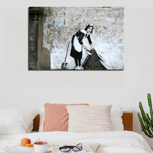 Banksy Maid Sweeping It Under The Carpet Canvas Posters Prints Wall Art Oil Painting Decorative Picture Modern Home Decoration