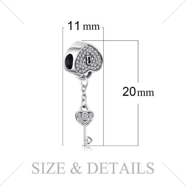 Sterling Silver Heart Zircon Charm