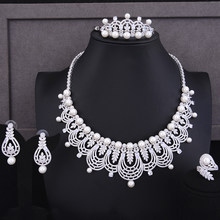 Gorgeous crown Shape Jewelry Set 4 PCS Handmade with Full Pearls Noble Luxury Necklace Bracelet Earrings Ring Women Accessories(China)