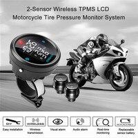 Мотоцикл TPMS шин Давление монитор Системы 2 Датчики Беспроводной ЖК дисплей Дисплей мотоцикл сигнализация Системы подарок двойной 4.2A USB Заря