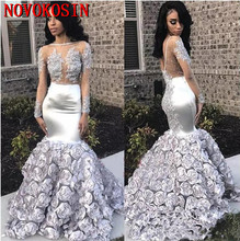 Mermaid 3D Flowers Long Sleeve Prom Dresses 2019 Sheer Bead Lace Applique Ruffled Formal Evening Gowns Black Girls Party Dress цена и фото