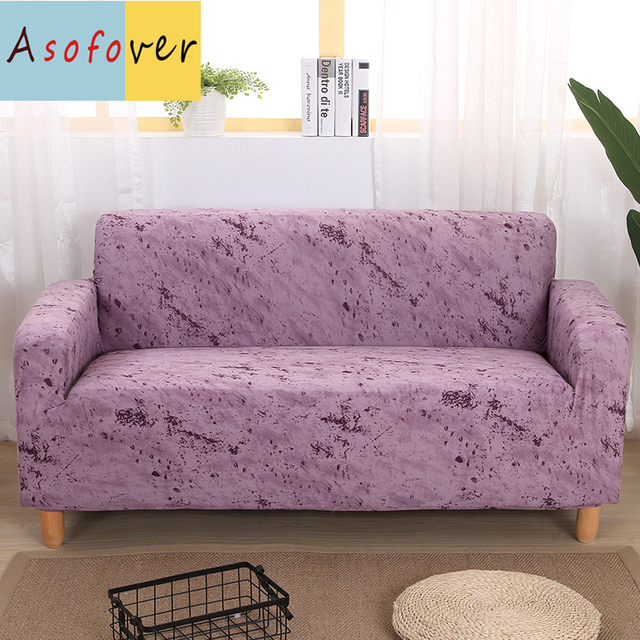 Pure Color Purple Sofa Cover Elastic Slipcover Stretch Furniture Covers Protector For Living Room Couch