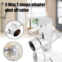 Mayitr G1/2 Brass Valve Core Solid 3 Way T-adapter for Bidet Sprayer Shower Set Diverter valve Chrome Shower Water Separator