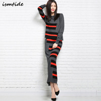 Ismtide 2017 Womens Winter Women's Sets Cashmere Sweaters Autumn Women Long Dresses Knitted High Quality Warm Female Thickening
