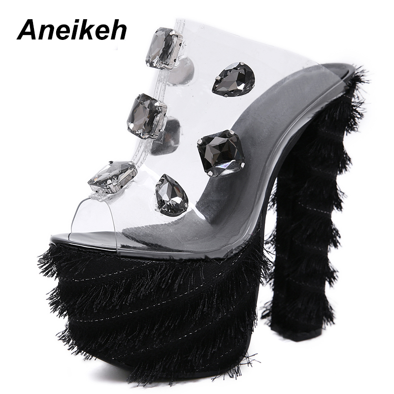 Aneikeh Fashion 2019 Summer Womens Sandals Sweet Canvas Big Diamond Transparent High Heels Cover Heel Shallow Solid Pink BlackAneikeh Fashion 2019 Summer Womens Sandals Sweet Canvas Big Diamond Transparent High Heels Cover Heel Shallow Solid Pink Black