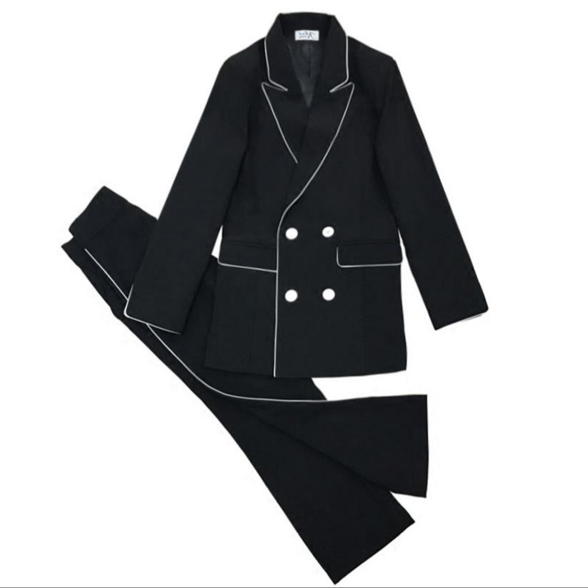 Pant Suits 2 Piece Set for Women Double Breasted Blazer Jacket & Trouser Office Lady Suit Feminino