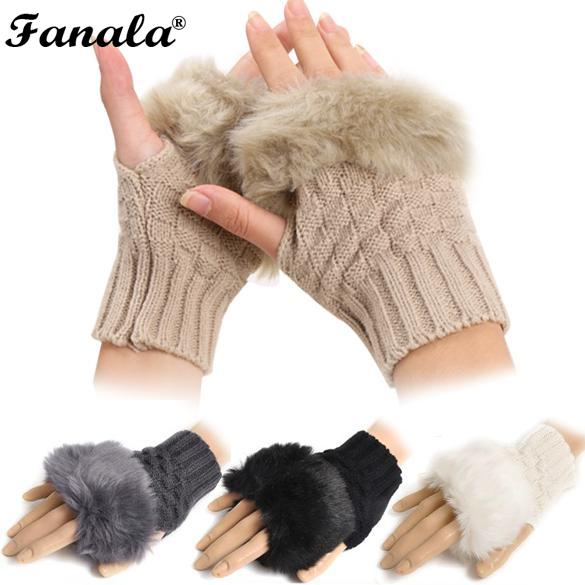 2018 New Fashion Winter Arm Warmer Fingerless Gloves, Knitted Fur Trim Gloves Mitten N3020