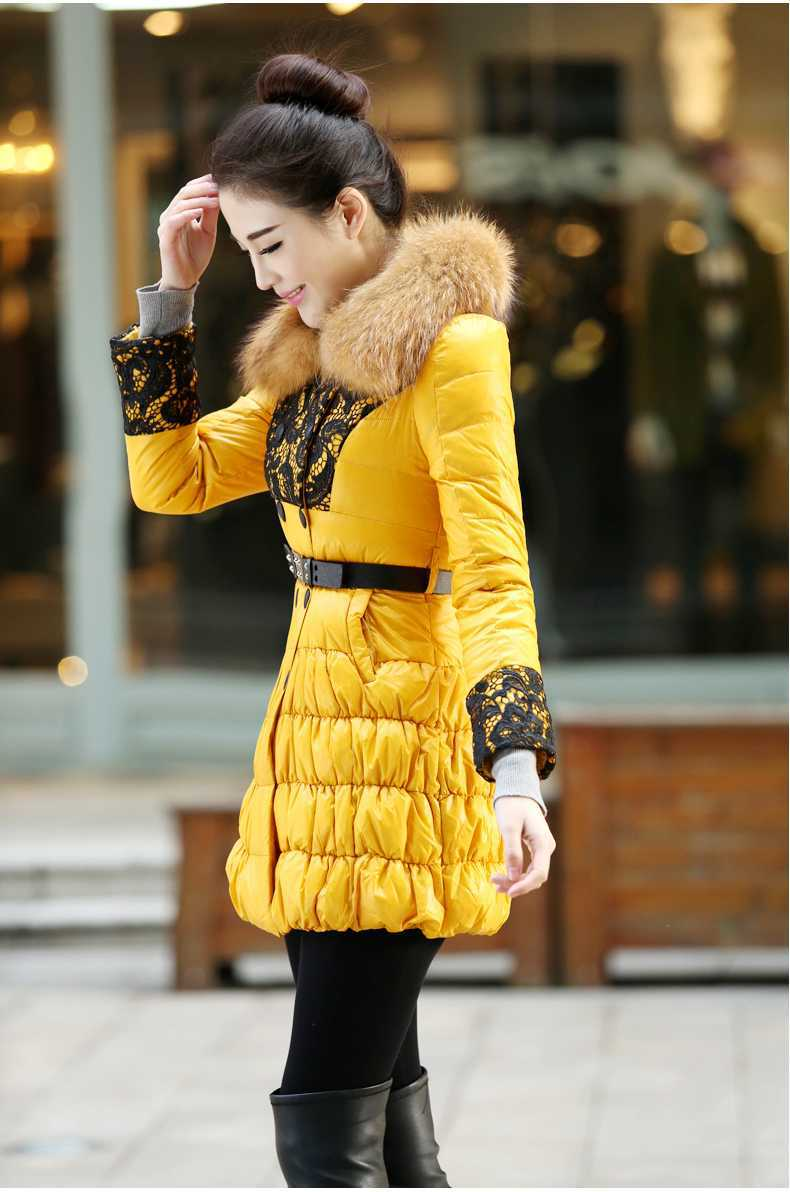 Top Selling 2015 Women Fur Collar Lace Patchwork cotton Coats Fashion Winter Wadded cotton Jackets Women Slim Long Parkas H4665