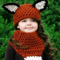 Winter Children Crochet Hooded Cat Squirrel Shape Caps Neck Wrap Scarf Knitted Collar Baby Girl Boy