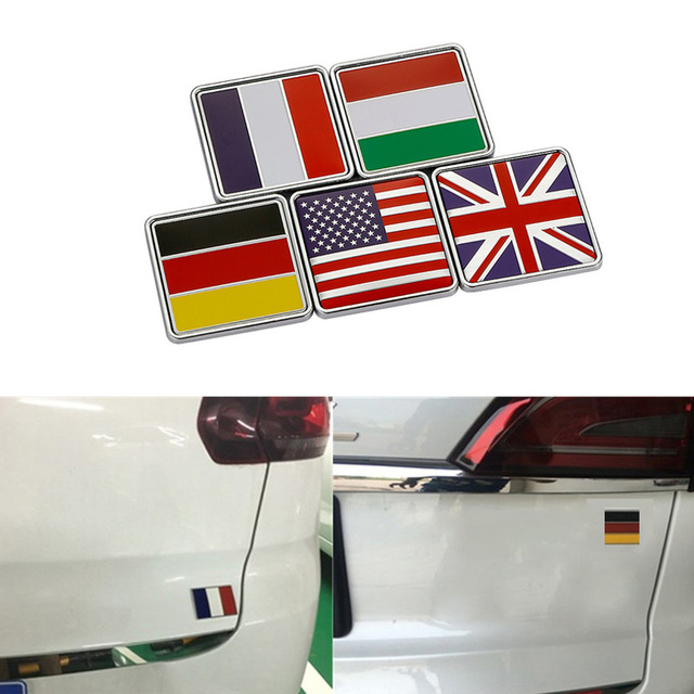 3d Metal Usa Uk Germany France Italy National Flag Car Stickers