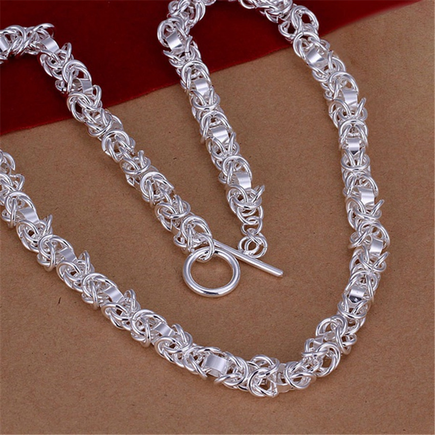 Mens silver plated fashion classic refined luxury noble ornate Necklace Fashion hot selling silver jewelry